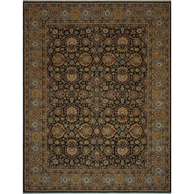 Branner Turkish Hand-Knotted Wool Black/Brown Area Rug