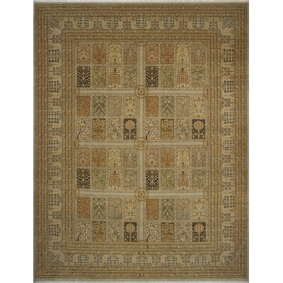 Branner Turkish Hand-Knotted Wool Beige/Green Area Rug