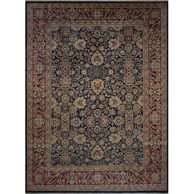 Maly Vegetable-Dyed Hand-Knotted Wool Red/Navy Area Rug