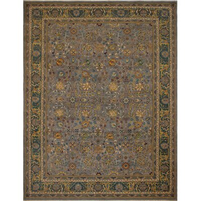 Branner Turkish Hand-Knotted Wool Gray/Green Area Rug