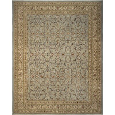 Branner Turkish Hand-Knotted Wool Green/Brown Area Rug
