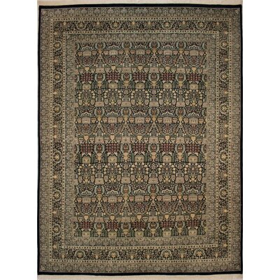 Canning Persian Hand-Knotted Wool Black/Ivory Area Rug