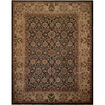 Branner Turkish Hand-Knotted Wool Tan/Black Area Rug