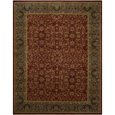 Branner Turkish Hand-Knotted Wool Red/Blue Area Rug