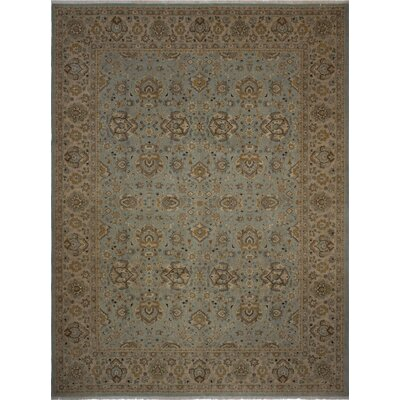 Branner Turkish Hand-Knotted Wool Green/Blue Area Rug