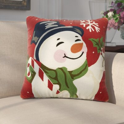 Denis Holiday Crewel 100% Cotton Throw Pillow