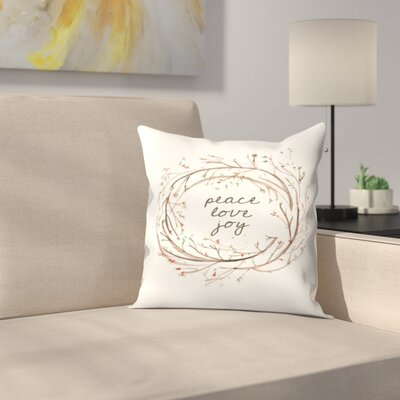 Jetty Printables Peace Love Joy Wreath Throw Pillow Size: 20 x 20