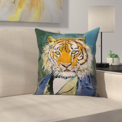 Gentleman Tiger Throw Pillow Size: 16 x 16