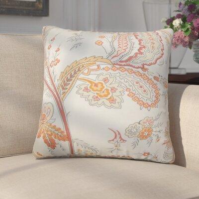 Alberto Floral Cotton Throw Pillow Color: Orange