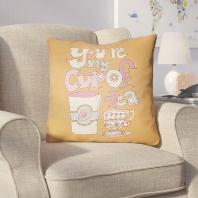 Colindale Youre My Cup Of Tea Throw Pillow Size: 20 H x 20 W x 4 D, Color: Orange