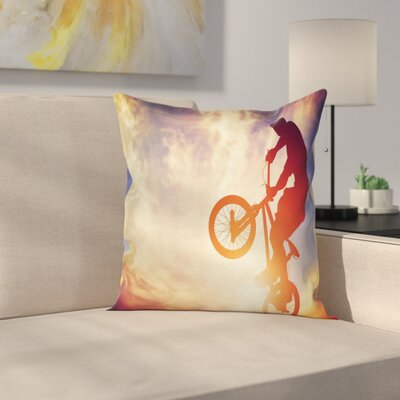 Modern Man on Bike Hazy Sun Cushion Pillow Cover Size: 16 x 16