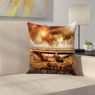 Camo Dark Clouds War Area Square Pillow Cover Size: 20 x 20