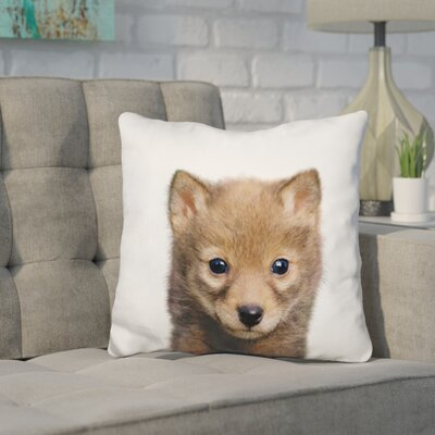 Hoelscher Baby Wolf Throw Pillow Color: Brown