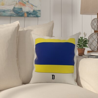 Crider D Letter Geometric Print Indoor/Outdoor Throw Pillow Size: 16 x 16