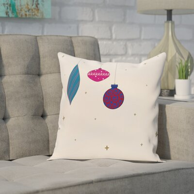 Ryman Light Bright Decorative Holiday Print Throw Pillow Size: 18 H x 18 W, Color: Ivory/Pink