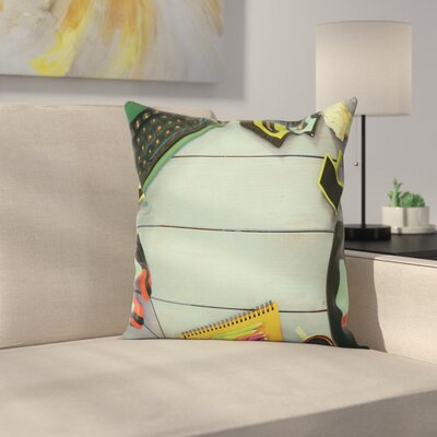 Eighties Objects on Table Square Cushion Pillow Cover Size: 24 x 24