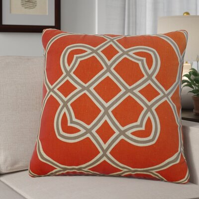 Kupfer Throw Pillow Size: 18 H x 18 W x 4 D, Color: Poppy Red / Elephant Gray / Parchment, Filler: Down