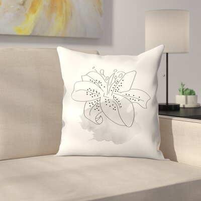 Gray Lilly Throw Pillow Size: 18 x 18
