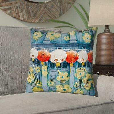 Akini Double Sided Print Lanterns in Singapore Throw Pillow Size: 16 x 16