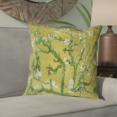 Lei Almond Blossom Suede Pillow Cover Color: Yellow/Green