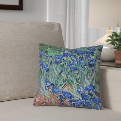 Morley Irises Square Pillow Cover Size: 14 x 14, Color: Teal/Blue