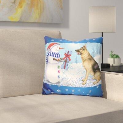 Snowman Dog Throw Pillow