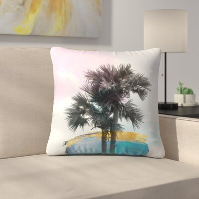 Colorful Palm Tree Throw Pillow Size: 16
