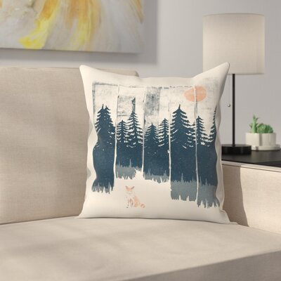 A Fox In The Wild Throw Pillow Size: 16 x 16