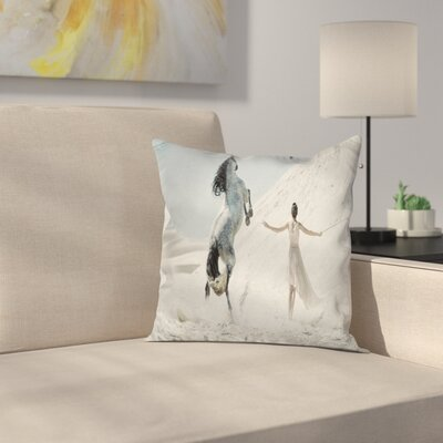 Horse Lady with Horse Square Pillow Cover Size: 20 x 20