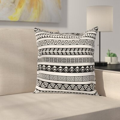 Boho Native American Borders Square Pillow Cover Size: 18 x 18