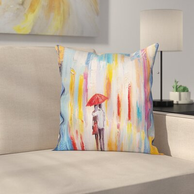 Love Painting Effect Romance Square Pillow Cover Size: 16 x 16