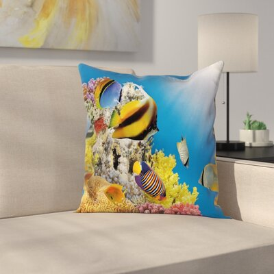 Coral Colony on Reef Top Square Pillow Cover Size: 24 x 24