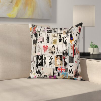 Girl Collage Fashion Trendy Square Pillow Cover Size: 24 x 24