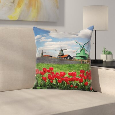 Windmill Decor Tulips Field Square Pillow Cover Size: 24 x 24