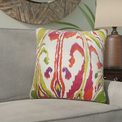 Deeanna Ikat Cotton Throw Pillow Cover Color: Pink