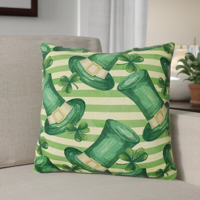 Watercolor St Patricks Day Leprechan Hat Outdoor Throw Pillow