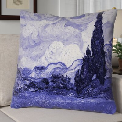 Meredosia Wheat Field with Cypresses Faux Linen Euro Pillow Color: Blue