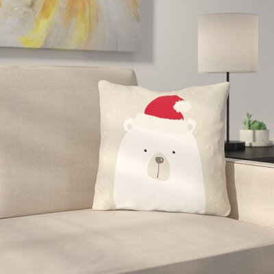 Cheyne Santa Polar Bear Throw Pillow Size: 18 x 18