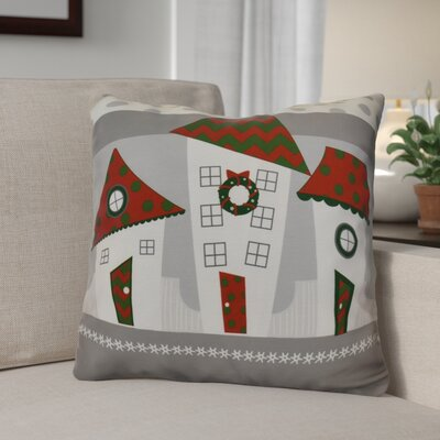 Decorative Christmas Print Outdoor Throw Pillow Size: 18 H x 18 W, Color: Red