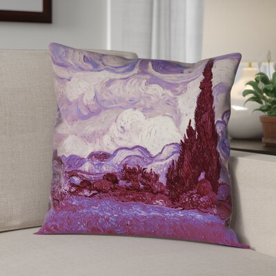Lapine Mauve Wheatfield with Cypresses Pillow Cover
