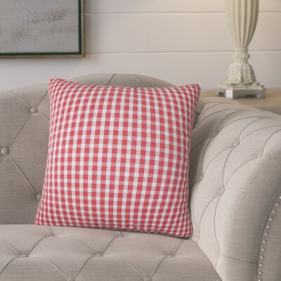Port Augusta Plaid Cotton Throw Pillow Color: Red