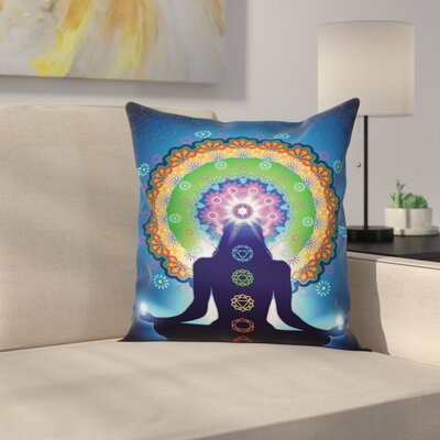 Zen Indian Mandala Chakra Yoga Square Pillow Cover Size: 16 x 16