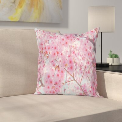 Japanese Sakura Flowers Cushion Pillow Cover Size: 16 x 16