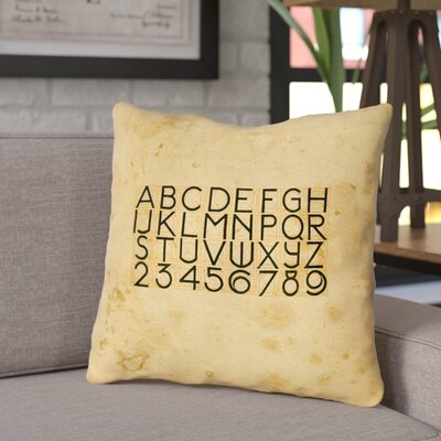 Daniyar Vintage Typography Square Throw Pillow Size: 20 x 20