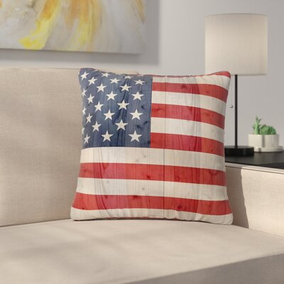 Bruce Stanfield USA Flag on Spruce Outdoor Throw Pillow Size: 16 H x 16 W x 5 D
