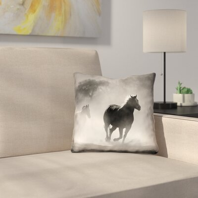 Aminata Galloping Horses Double Sided Linen Print Pillow Cover Size: 26 x 26