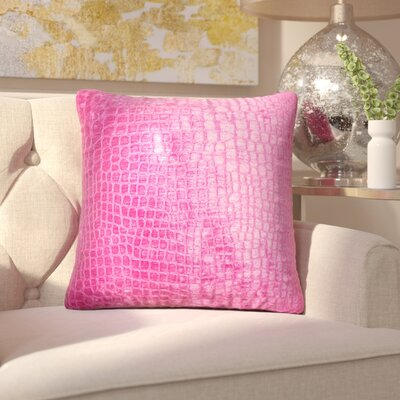 Lelon Solid Down Filled Throw Pillow Size: 24 x 24, Color: Magenta