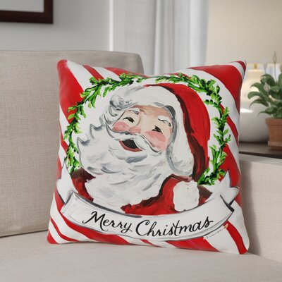 Santa Rosy Cheeks Throw Pillow Size: 18 x 18