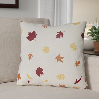Falling Leaves Indoor/Outdoor Throw Pillow Size: 20 H x 20 W x 4 D, Color: White/Red/Yellow