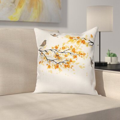 Fall Decor Flying Birds Leaves Square Pillow Cover Size: 16 x 16